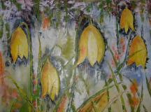 DSCN1913 Gele klokjes, olieverf op doek 100x130 cm
