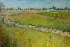 landschap omgeving Keent Overlangel  80x 120 cm  olieverf  op doek.